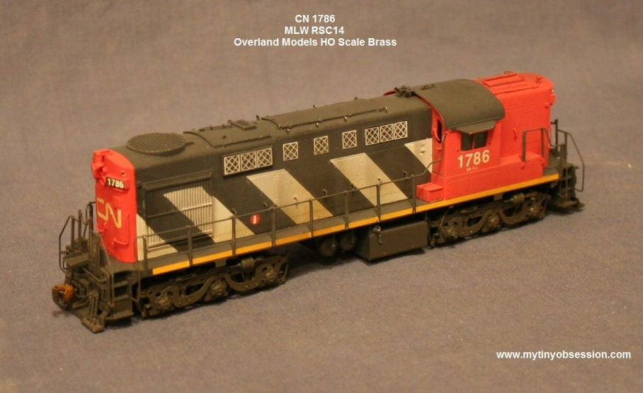 Canadian national 1786 is an ho scale overland brass rsc14 these were rs18 locomotives rebuilt with a b a trucks for use on light rail branchlines in
